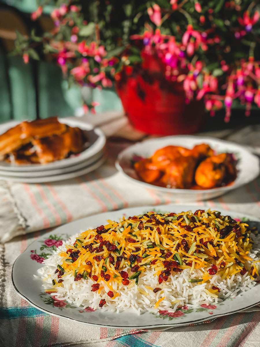 zeresht polo with persian rice and barberies