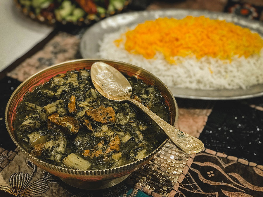 Persian vegetarian dishes, Persian celery stew with rice