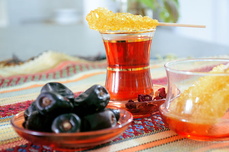 Persian tea and sugar stick - Hot and cold nature in Persian food culture