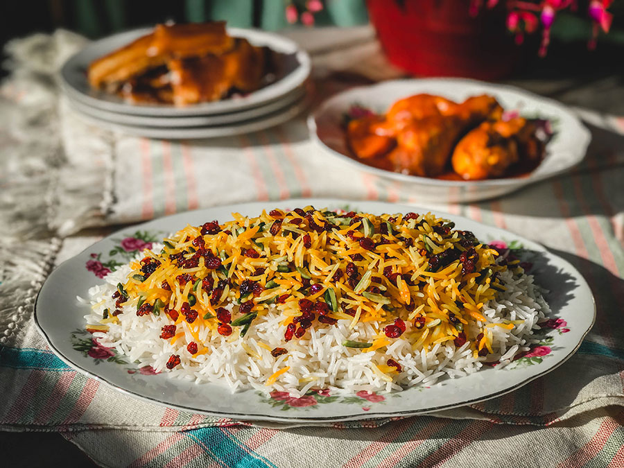 persian rice - polo - Persian vegetarian dishes