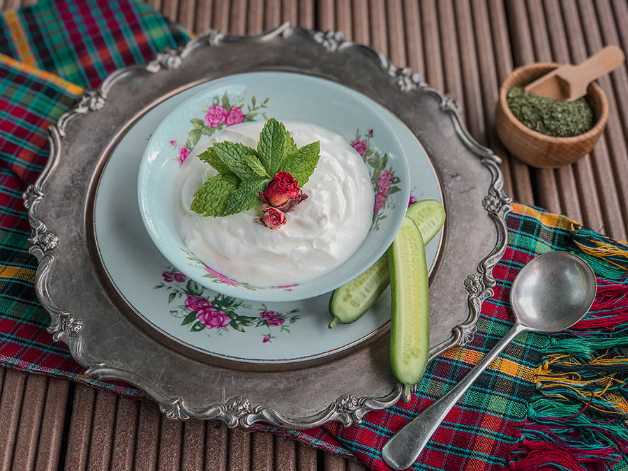 yoghurt with mint and rose petals- Hot and cold nature in Persian food culture