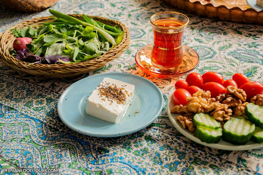 persian cheese with herbs, tomato, cucumber and walnuts- Persian breakfast