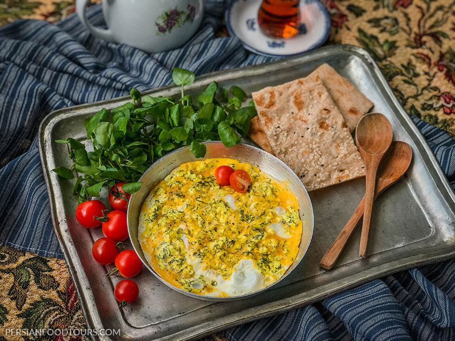 Persian Cheese and Egg omelette - Persian omelette