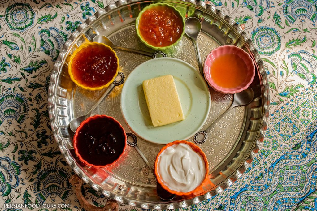 butter and cream with jam- Persian breakfast