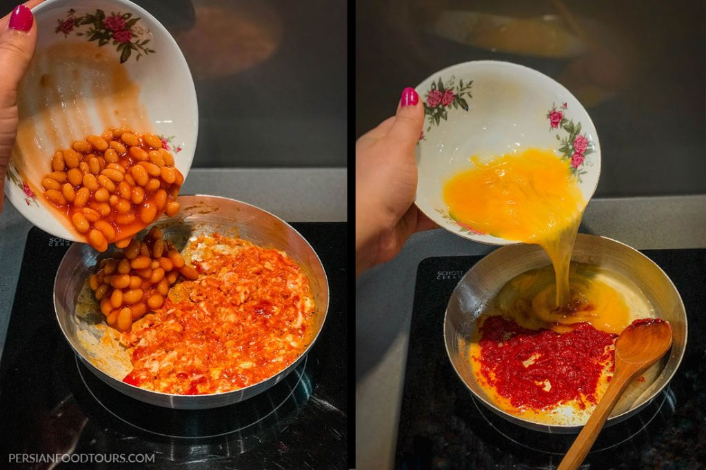 How to cook Persian baked beans omelette - Persian omelette