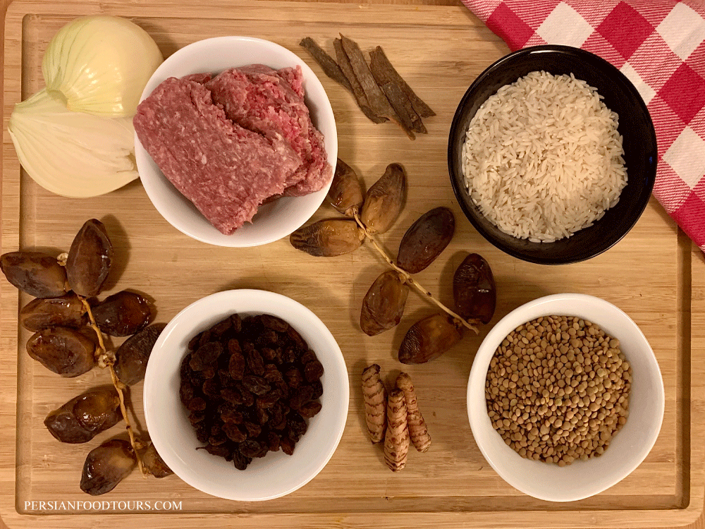 Ingredients for Adas Polo - Persian Rice with Lentils