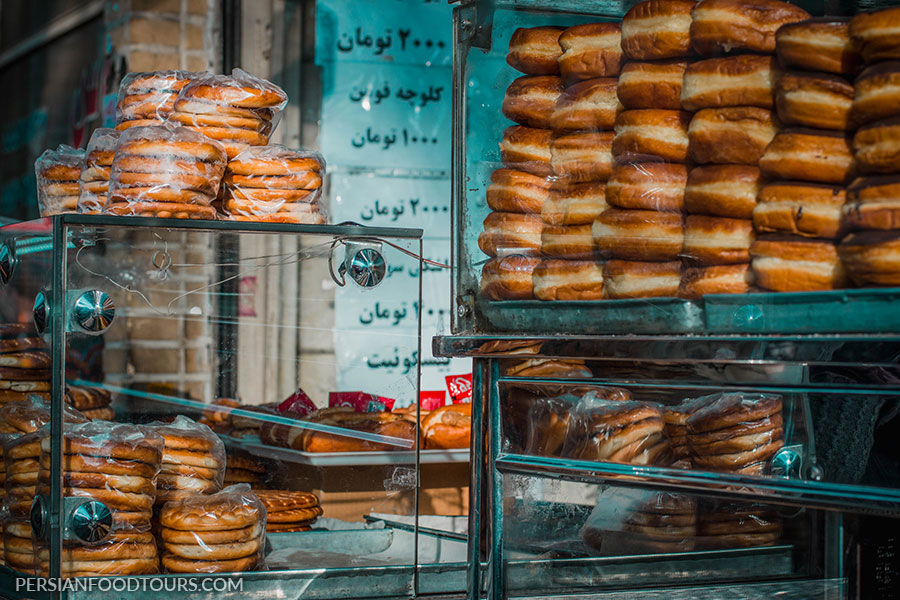 Many kinds of Donuts and cookies as Tehran Grand bazaar's street food