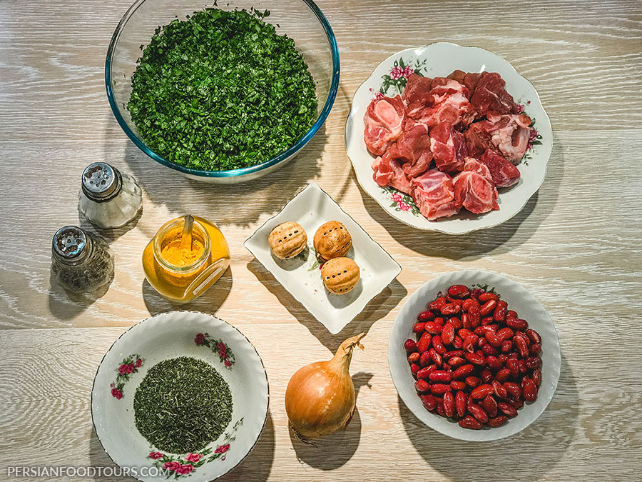 Ghormeh Sabzi ingredients
