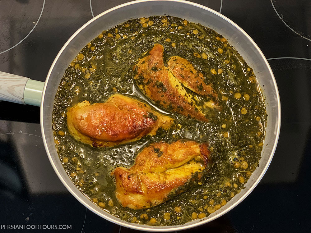 chicken with herbs- morgh-e torsh